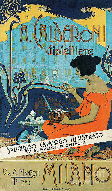 Diamond Art Print featuring the painting A Calderoni Gioielliere, Milan, 1898 by Adolfo Hohenstein