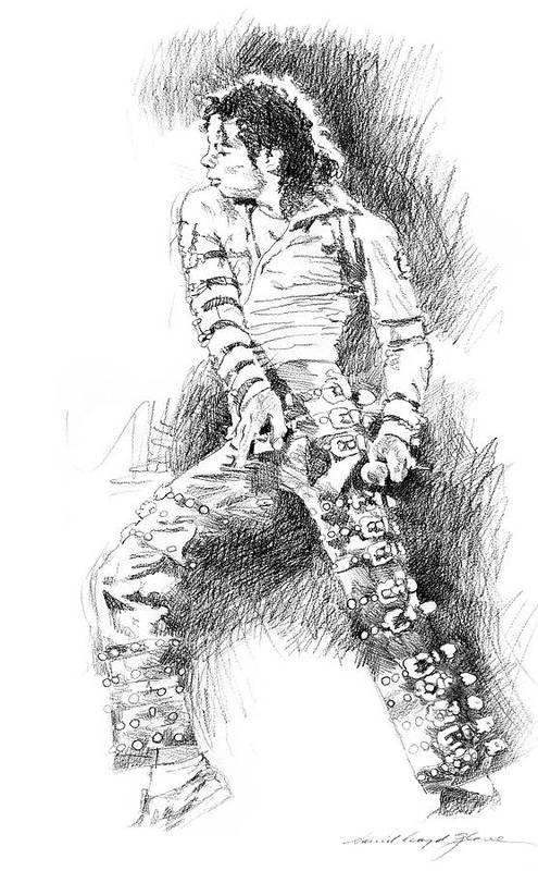 Michael Jackson Art Print featuring the drawing Michael Jackson - Onstage by David Lloyd Glover