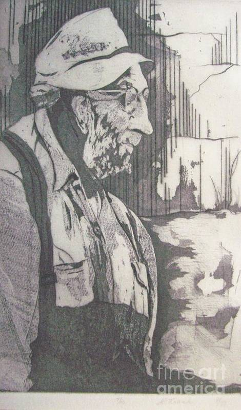 Etching Art Print featuring the painting Old Man by Linda Frank
