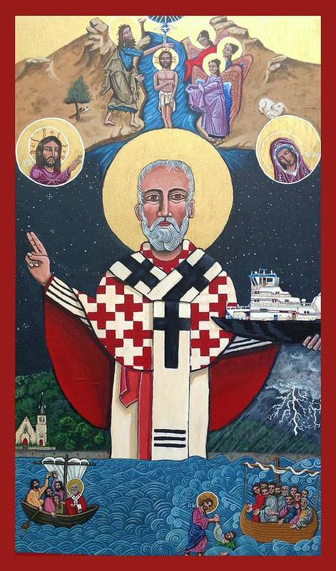 Art Print featuring the painting St. Nicholas Patron of Mariners by Kelly Latimore