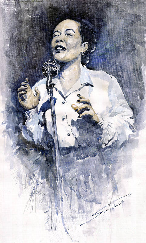 Watercolor Art Print featuring the painting Jazz Billie Holiday Lady Sings The Blues by Yuriy Shevchuk