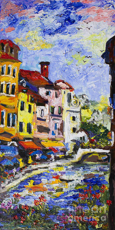 Van Gogh Art Print featuring the painting Annecy France Canal And Bistros Impressionism Knife Oil Painting by Ginette Callaway