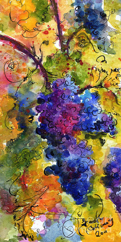 Grapes Art Print featuring the painting Blue Grapes by Ginette Callaway