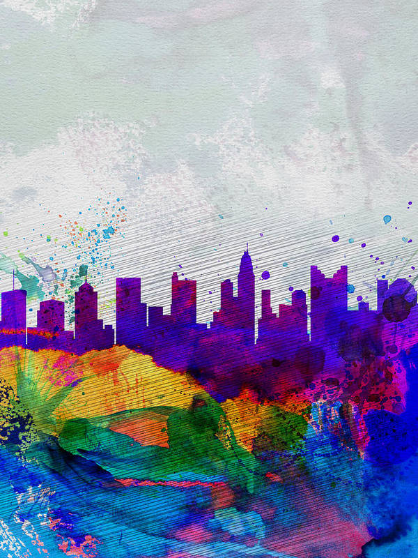 Columbus Art Print featuring the painting Columbus Watercolor Skyline by Naxart Studio