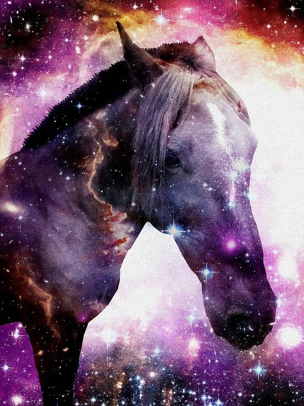 Stallion Print featuring the digital art Horse In The Small Magellanic Cloud by Anastasiya Malakhova
