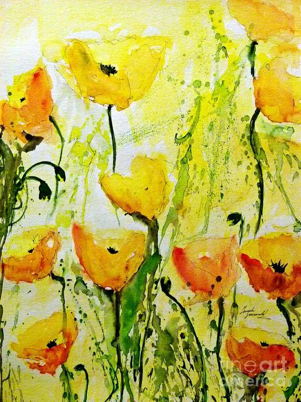 Flowers Art Print featuring the painting Yellow Poppy 2 - Abstract Floral Painting by Ismeta Gruenwald