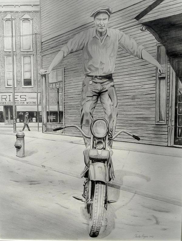 Black And White Art Print featuring the drawing Balancing Act by Charles Rogers
