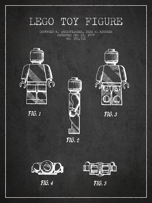 Lego Print featuring the drawing Lego Toy Figure Patent - Dark by Aged Pixel
