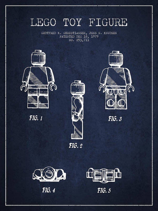 Lego Art Print featuring the drawing Lego Toy Figure Patent - Navy Blue by Aged Pixel