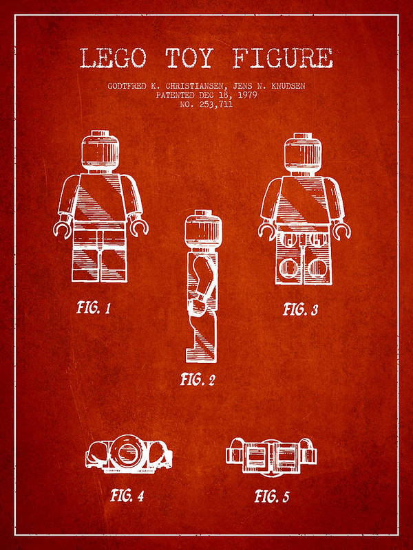Lego Art Print featuring the digital art Lego Toy Figure Patent - Red by Aged Pixel