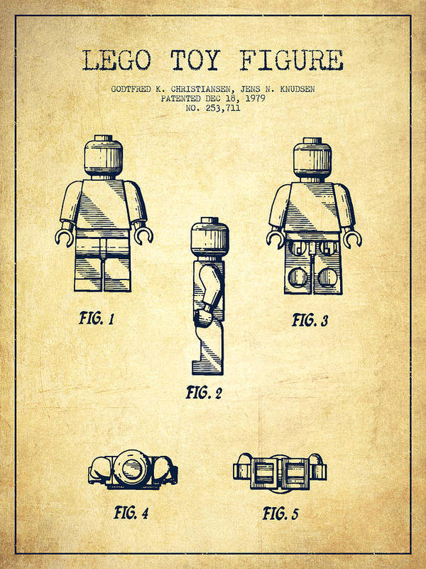 Lego Art Print featuring the digital art Lego Toy Figure Patent - Vintage by Aged Pixel