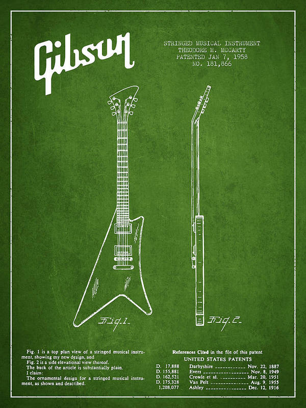 Gibson Art Print featuring the drawing Mccarty Gibson Stringed Instrument Patent Drawing From 1958 - Green by Aged Pixel