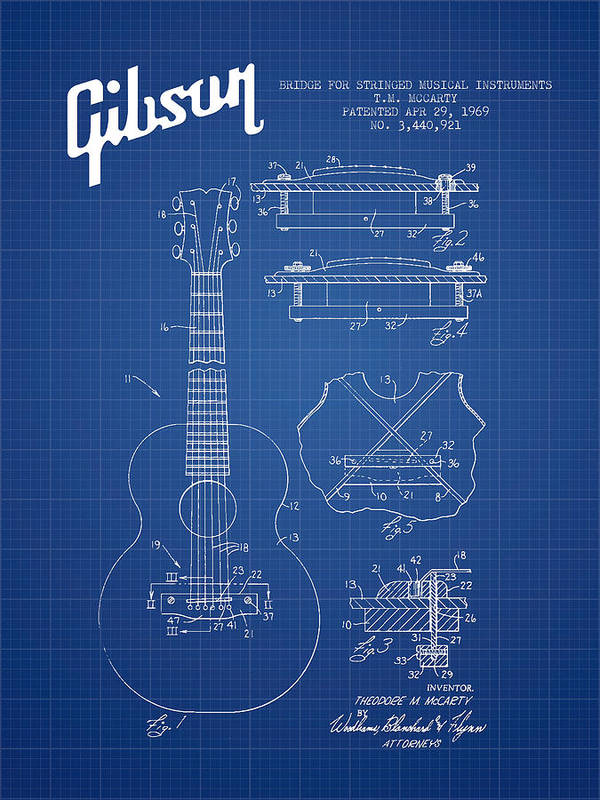 Gibson Art Print featuring the digital art Mccarty Gibson Stringed Instrument Patent Drawing From 1969 - Bl by Aged Pixel