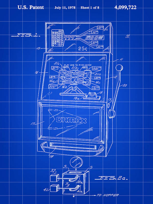 Slot Art Print featuring the digital art Slot Machine Patent 1978 - Blue by Stephen Younts