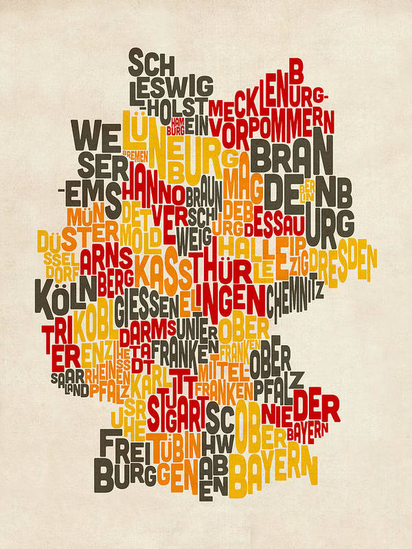 Text Map Art Print featuring the digital art Text Map Of Germany Map by Michael Tompsett