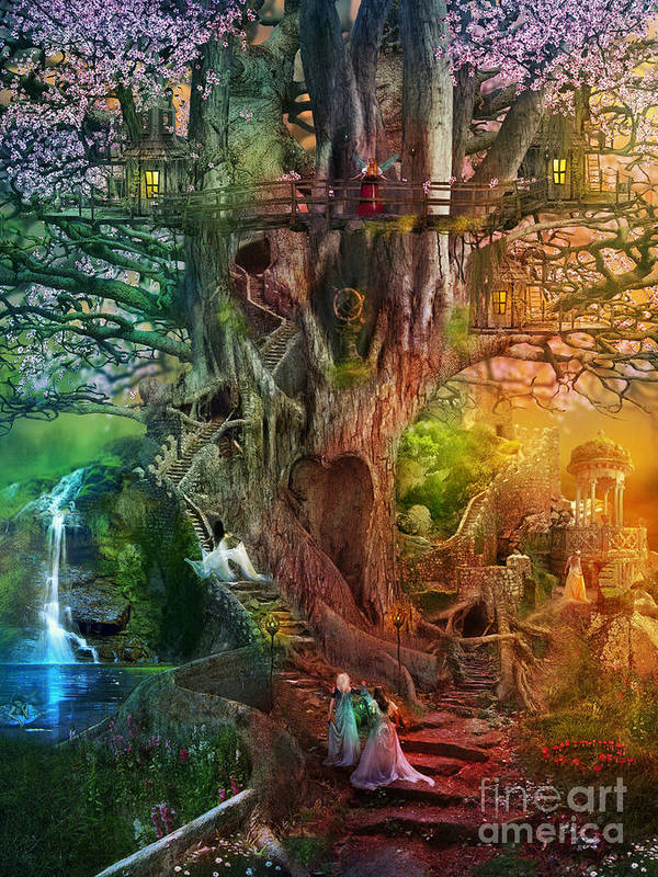 Aimee Stewart Art Print featuring the digital art The Dreaming Tree by MGL Meiklejohn Graphics Licensing