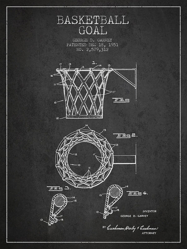 Hoop Patent Art Print featuring the digital art Vintage Basketball Goal Patent From 1951 by Aged Pixel