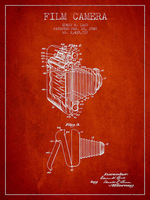 Camera Art Print featuring the drawing Vintage Film Camera Patent From 1948 by Aged Pixel