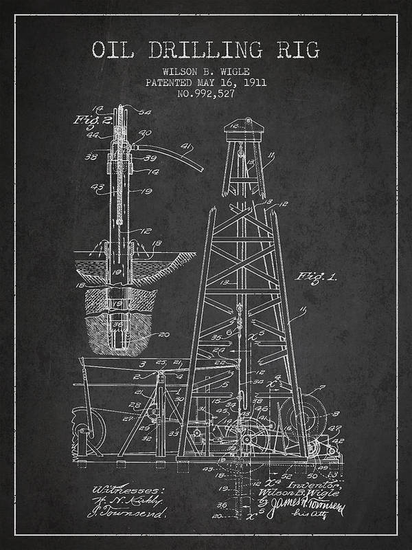 Vintage Oil Drilling Rig Patent From 1911 Art Print By