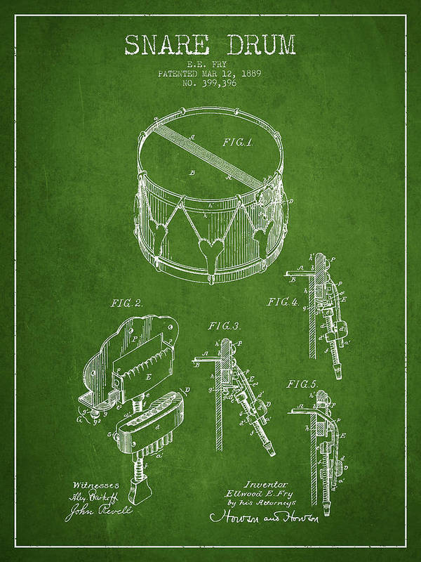 Snare Drum Art Print featuring the drawing Vintage Snare Drum Patent Drawing From 1889 - Green by Aged Pixel