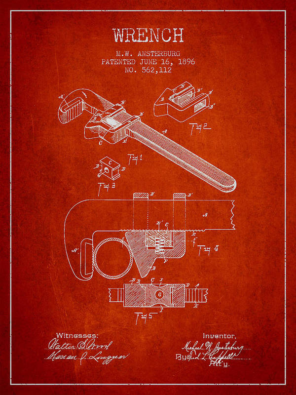 Monkey Wrench Art Print featuring the drawing Wrench Patent Drawing From 1896 by Aged Pixel