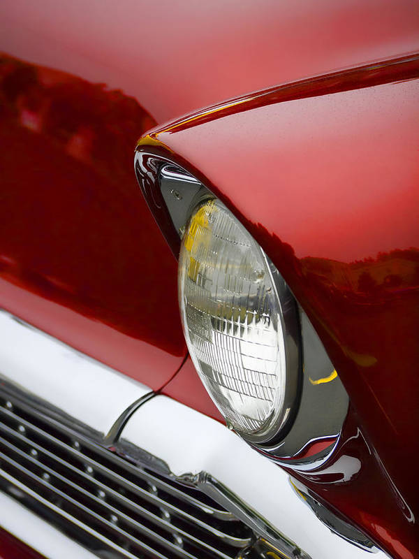 1956 Art Print featuring the photograph 1956 Chevrolet Headlamp by Carol Leigh