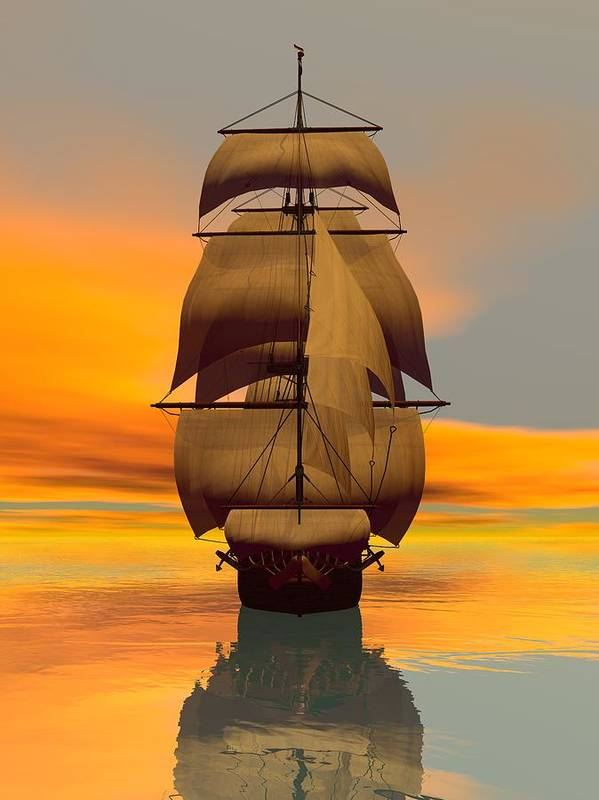 Art Print featuring the digital art At Full Sail by Sandra Bauser Digital Art