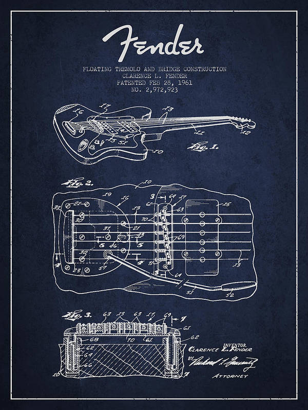 Fender Art Print featuring the digital art Fender Floating Tremolo Patent Drawing From 1961 - Navy Blue by Aged Pixel