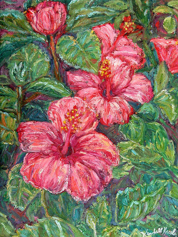 Hibiscus Art Print featuring the painting Hibiscus by Kendall Kessler