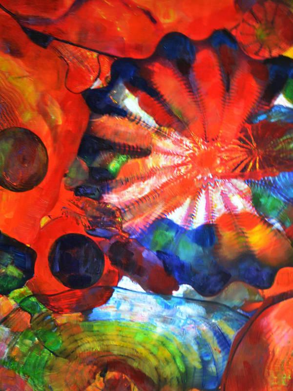 Glass Art Print featuring the mixed media Illumination by Sarah Ghanooni