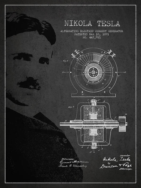 Tesla Art Print featuring the drawing Nikola Tesla Patent From 1891 by Aged Pixel
