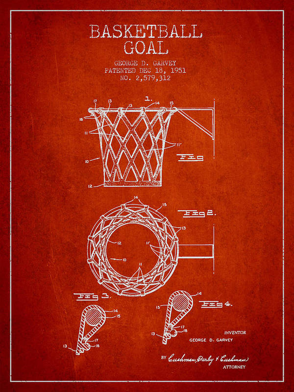 Hoop Patent Art Print featuring the drawing Vintage Basketball Goal Patent From 1951 by Aged Pixel
