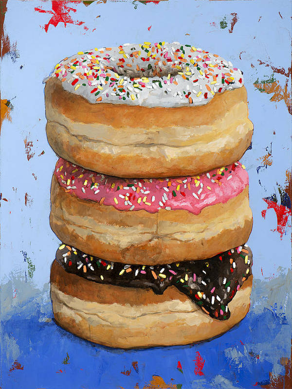 Donuts Art Print featuring the painting 3 Donuts #2 by David Palmer