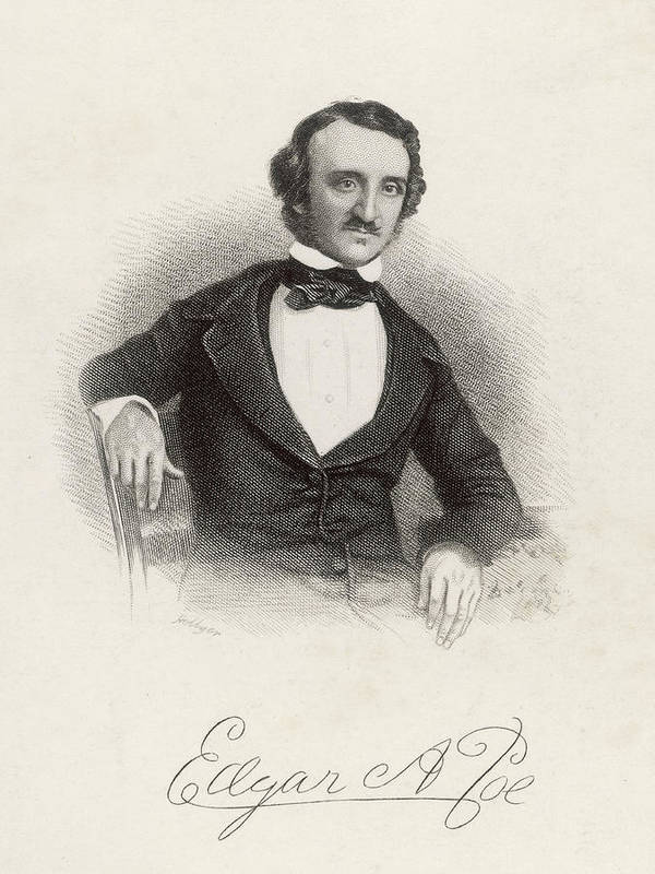 Poe Art Print featuring the drawing Edgar Allan Poe American Writer by Mary Evans Picture Library