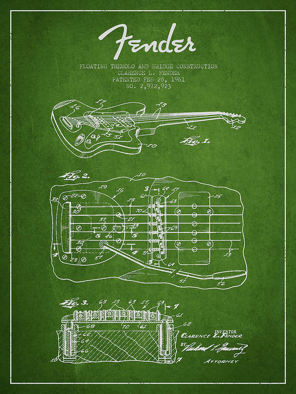 Fender Art Print featuring the drawing Fender Floating Tremolo Patent Drawing From 1961 - Green by Aged Pixel