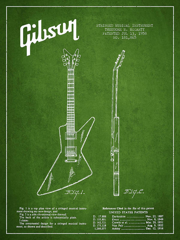 Gibson Art Print featuring the digital art Mccarty Gibson Electrical Guitar Patent Drawing From 1958 - Green by Aged Pixel