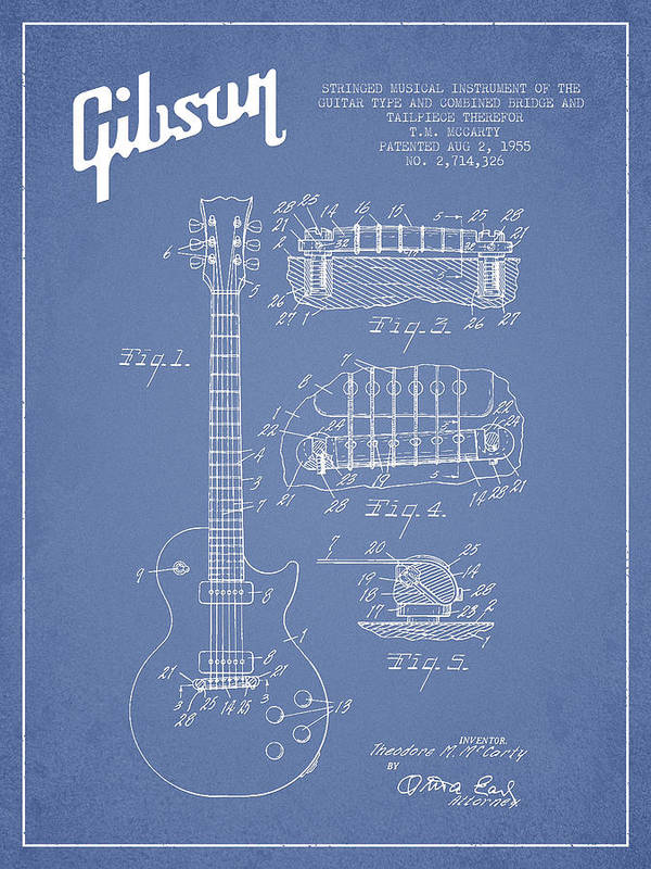 Gibson Art Print featuring the drawing Mccarty Gibson Les Paul Guitar Patent Drawing From 1955 - Light Blue by Aged Pixel