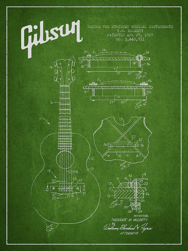 Gibson Art Print featuring the digital art Mccarty Gibson Stringed Instrument Patent Drawing From 1969 - Green by Aged Pixel