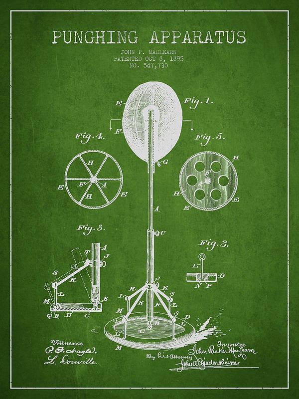Punching Bag Print featuring the drawing Punching Apparatus Patent Drawing From1895 by Aged Pixel