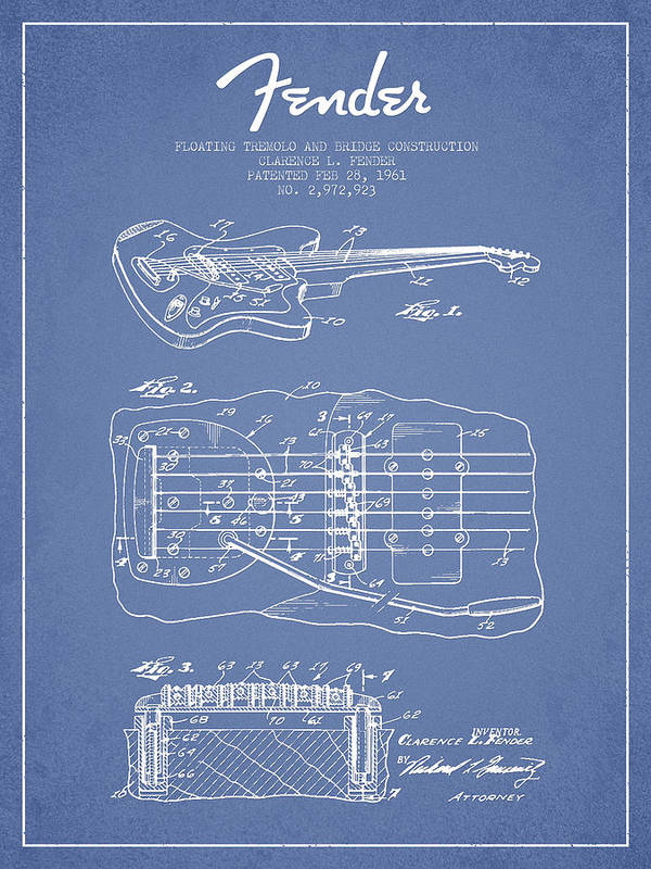 Fender Art Print featuring the drawing Fender Floating Tremolo Patent Drawing From 1961 - Light Blue by Aged Pixel