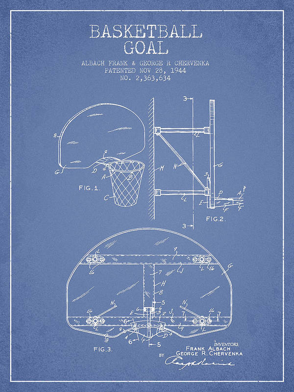 Hoop Patent Art Print featuring the digital art Vintage Basketball Goal Patent From 1944 by Aged Pixel