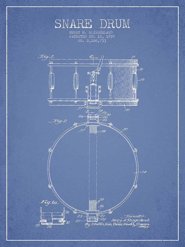 Snare Drum Art Print featuring the digital art Snare Drum Patent Drawing From 1939 - Light Blue by Aged Pixel