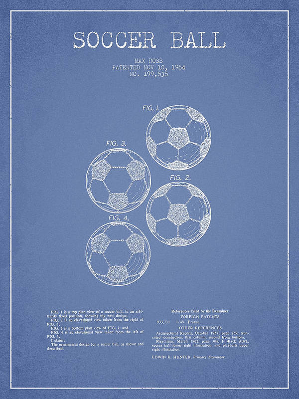 Soccer Print featuring the drawing Vintage Soccer Ball Patent Drawing From 1964 by Aged Pixel