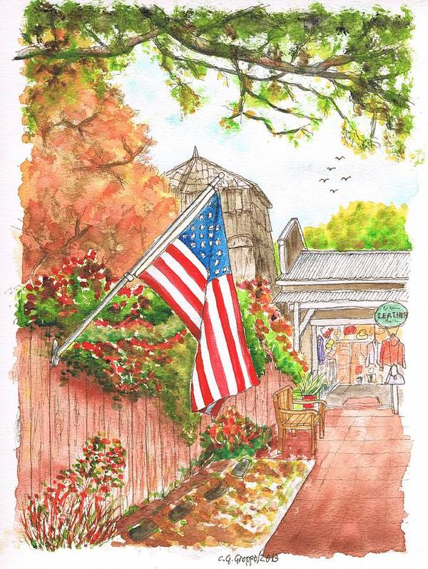 Flag Art Print featuring the painting 4th Of July In Los Olivos, California by Carlos G Groppa