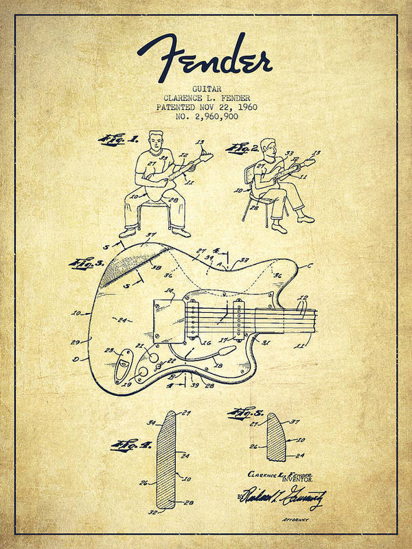 Fender Art Print featuring the drawing Fender Guitar Patent Drawing From 1960 by Aged Pixel