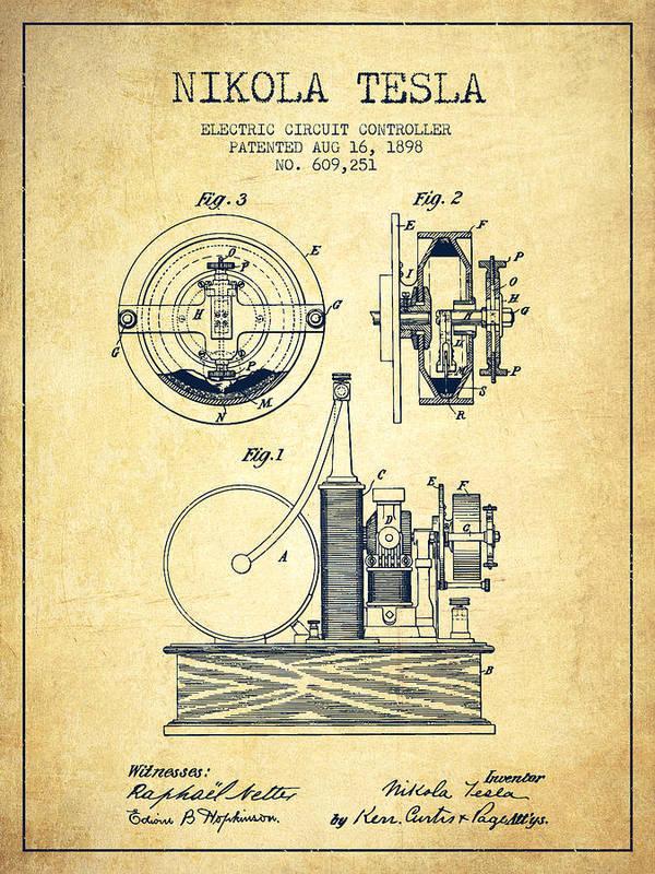 tesla art print featuring the digital art nikola tesla electric circuit  controller patent drawing from 189