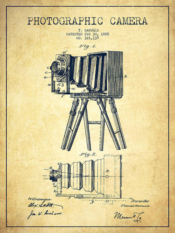 Camera Art Print featuring the drawing Photographic Camera Patent Drawing From 1885 by Aged Pixel