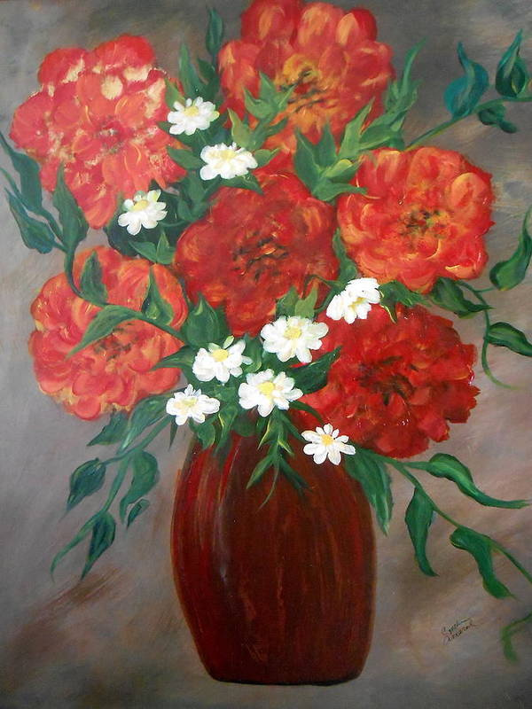 Orange Art Print featuring the painting 6 Flowers by Cynthia Amaral
