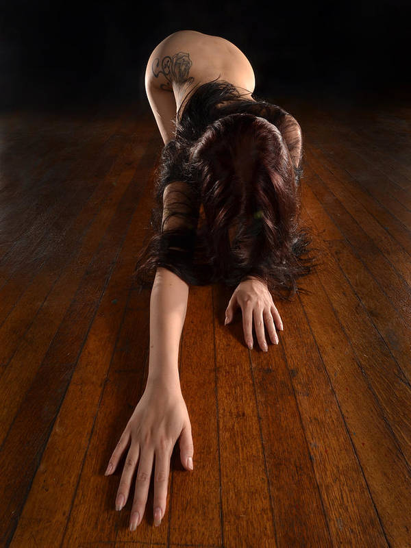 9124 Submissive Woman Hands Out Long Dark Hair Down Art