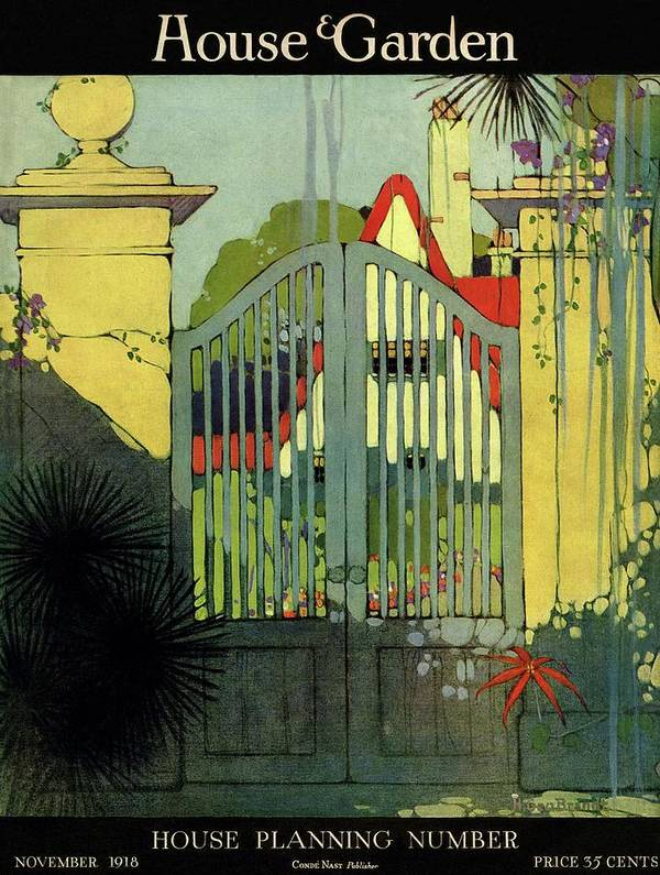 Illustration Art Print featuring the photograph A House And Garden Cover Of A Gate by H. George Brandt